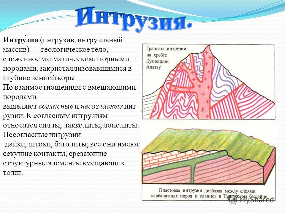 Интру́зия (интрузив, интрузивный массив) геологическое тело, сложенное магматическими горными породами, закристаллизовавшимися в глубине земной коры. По взаимоотношениям с вмещающими породами выделяют согласные и несогласные инт рузии. К согласным ин