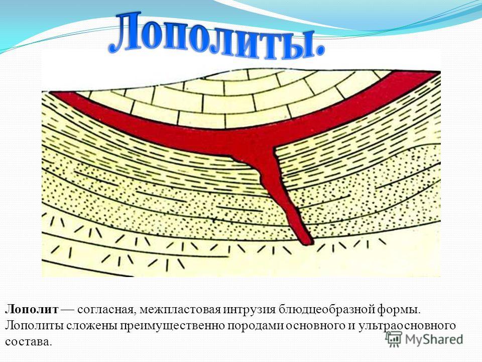 Лополит согласная, межпластовая интрузия блюдцеобразной формы. Лополиты сложены преимущественно породами основного и ультраосновного состава.