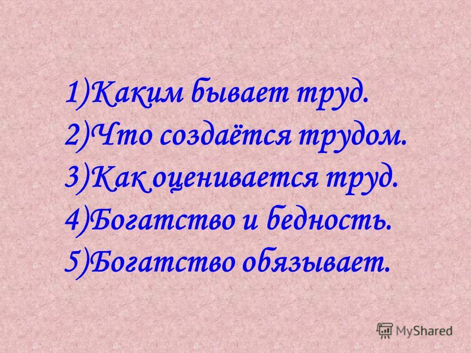 1)Каким бывает труд. 2)Что создаётся трудом. 3)Как оценивается труд. 4)Богатство и бедность. 5)Богатство обязывает.