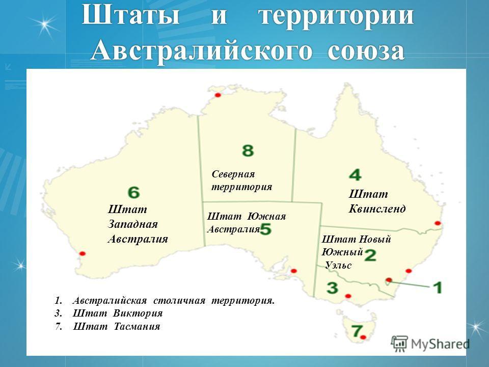 Штаты и территории Австралийского союза Штат Западная Австралия Северная территория Штат Квинсленд Штат Южная Австралия Штат Новый Южный Уэльс 1.Австралийская столичная территория. 3.Штат Виктория 7. Штат Тасмания