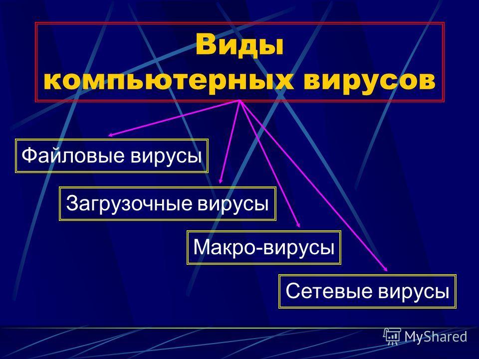 Виды компьютерных вирусов Файловые вирусы Загрузочные вирусы Макро-вирусы Сетевые вирусы
