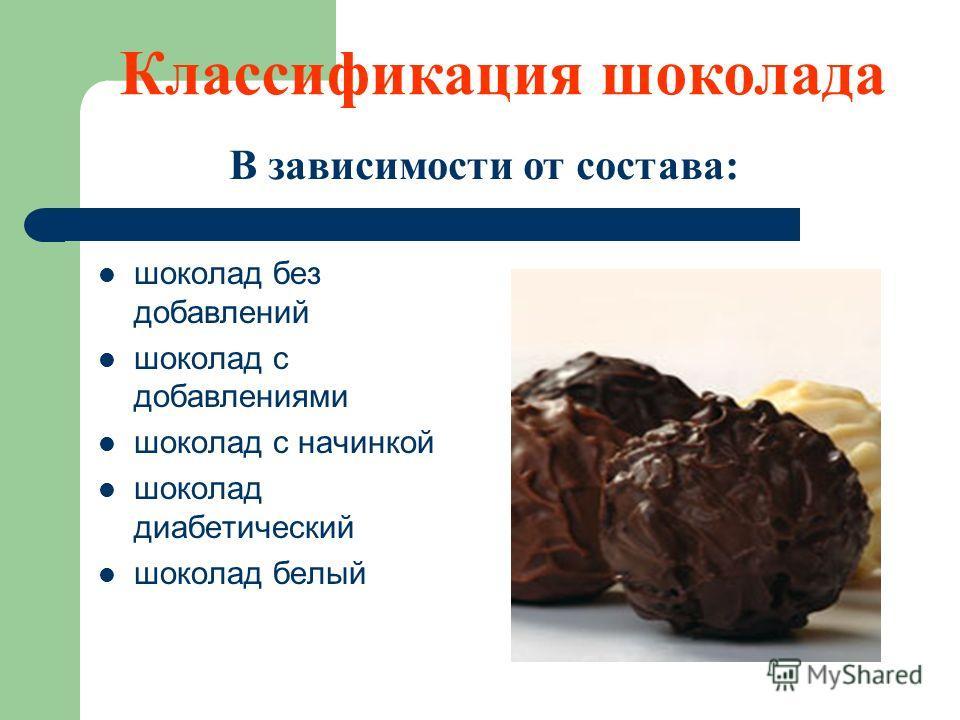 шоколад без добавлений шоколад с добавлениями шоколад с начинкой шоколад диабетический шоколад белый В зависимости от состава: Классификация шоколада