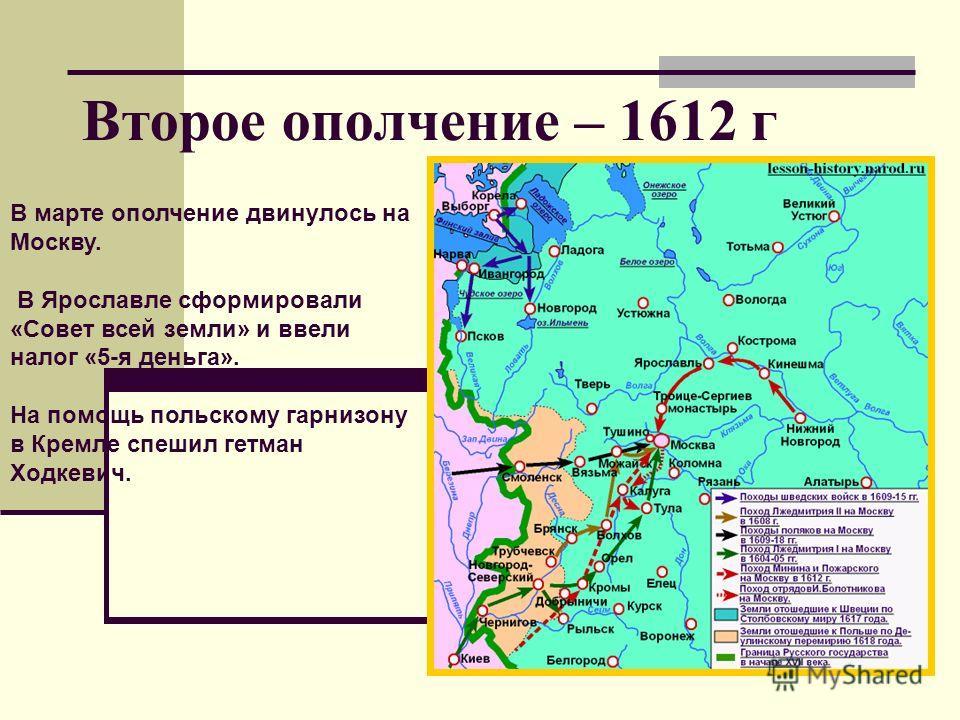 Второе ополчение – 1612 г В марте ополчение двинулось на Москву. В Ярославле сформировали «Совет всей земли» и ввели налог «5-я деньга». На помощь польскому гарнизону в Кремле спешил гетман Ходкевич.