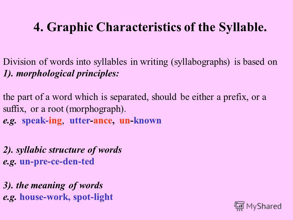 4. Graphic Characteristics of the Syllable. Division of words into syllables in writing (syllabographs) is based on 1). morphological principles: the part of a word which is separated, should be either a prefix, or a suffix, or a root (morphograph).