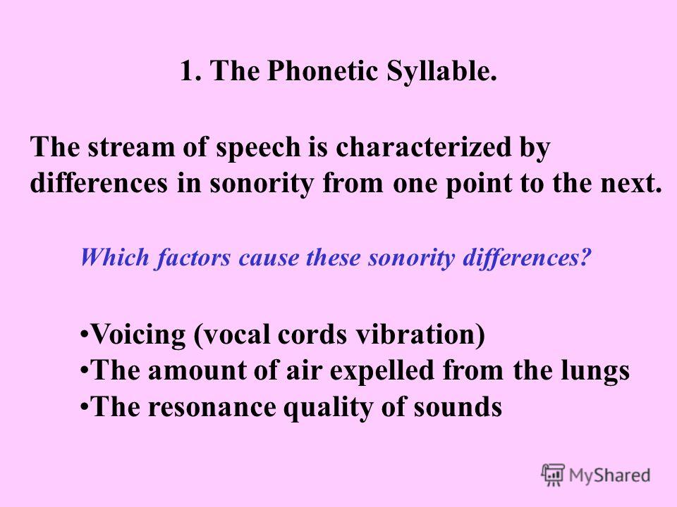 1. The Phonetic Syllable. The stream of speech is characterized by differences in sonority from one point to the next. Which factors cause these sonority differences? Voicing (vocal cords vibration) The amount of air expelled from the lungs The reson