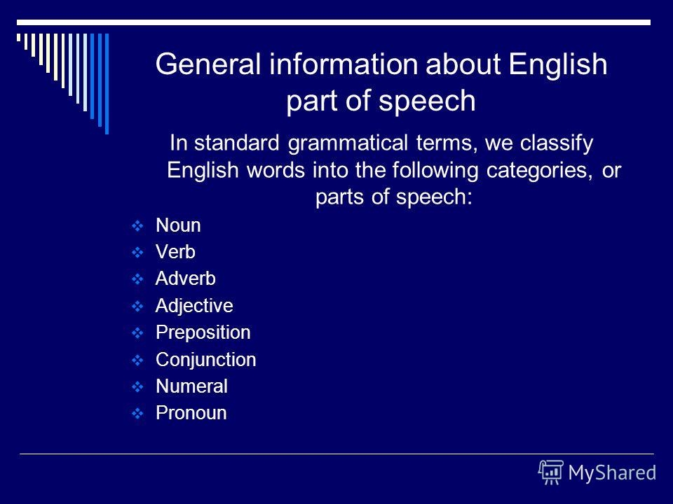 General information about English part of speech In standard grammatical terms, we classify English words into the following categories, or parts of speech: Noun Verb Adverb Adjective Preposition Conjunction Numeral Pronoun