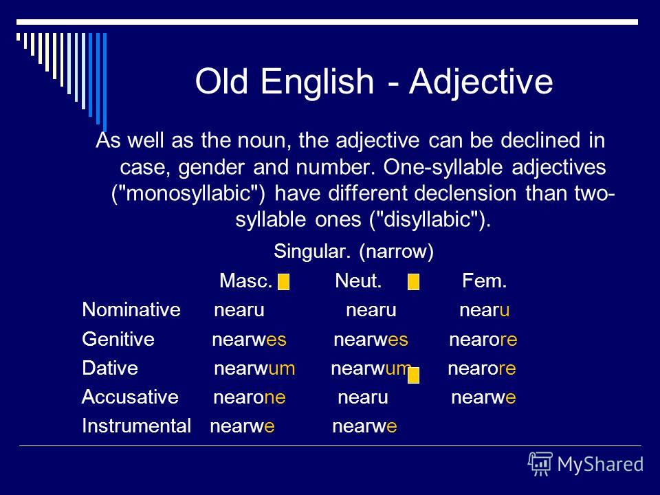 old english inflections