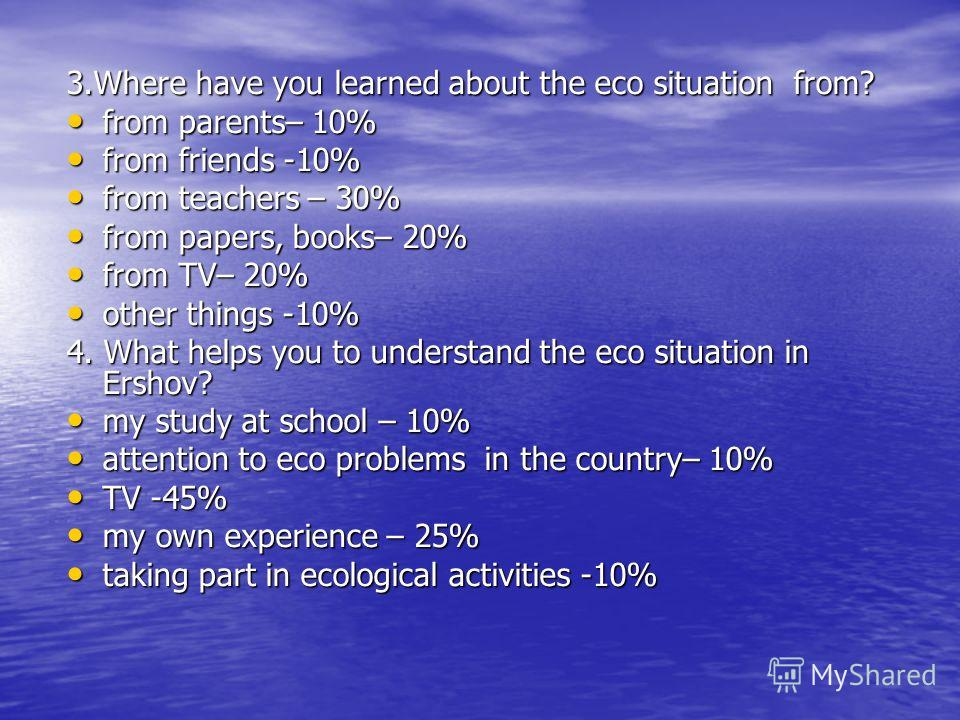 3.Where have you learned about the eco situation from? from parents– 10% from parents– 10% from friends -10% from friends -10% from teachers – 30% from teachers – 30% from papers, books– 20% from papers, books– 20% from TV– 20% from TV– 20% other thi