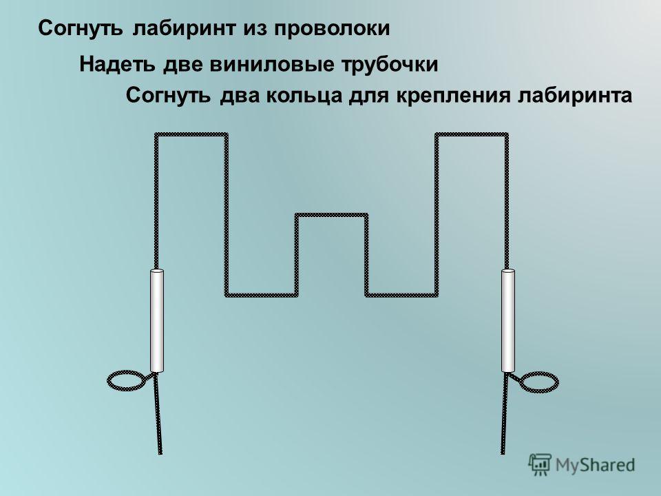 Согнуть лабиринт из проволоки Надеть две виниловые трубочки Согнуть два кольца для крепления лабиринта