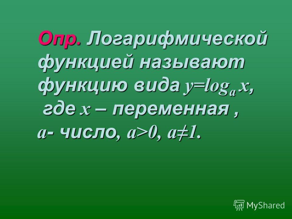 Опр. Логарифмической функцией называют функцию вида у=log a х, где х – переменная, где х – переменная, a - число, a>0, a1.
