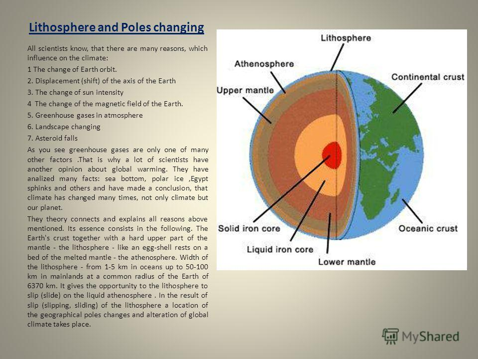 Lithosphere and Poles changing All scientists know, that there are many reasons, which influence on the climate: 1 The change of Earth orbit. 2. Displacement (shift) of the axis of the Earth 3. The change of sun intensity 4 The change of the magnetic