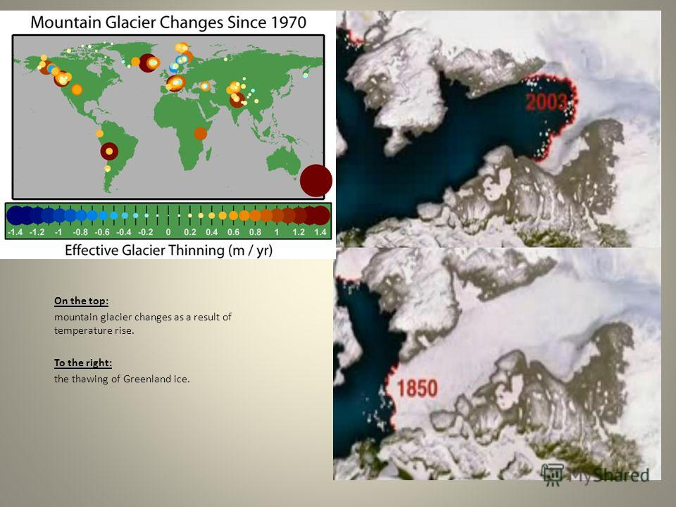 On the top: mountain glacier changes as a result of temperature rise. To the right: the thawing of Greenland ice.
