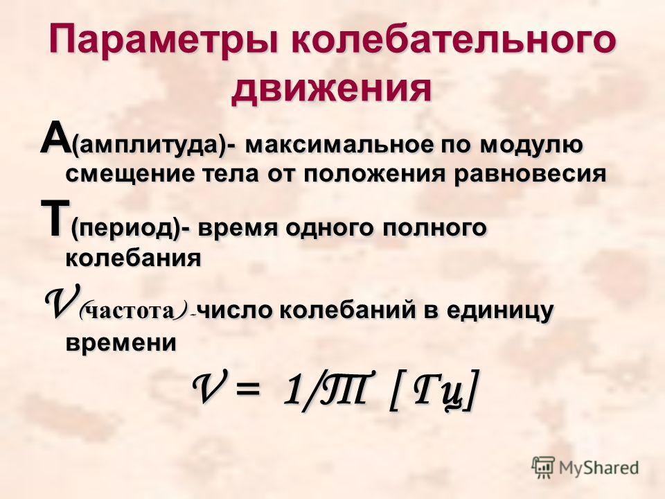 Параметры колебательного движения А (амплитуда)- максимальное по модулю смещение тела от положения равновесия Т (период)- время одного полного колебания V ( частота )- число колебаний в единицу времени V = 1/Т [ Гц]