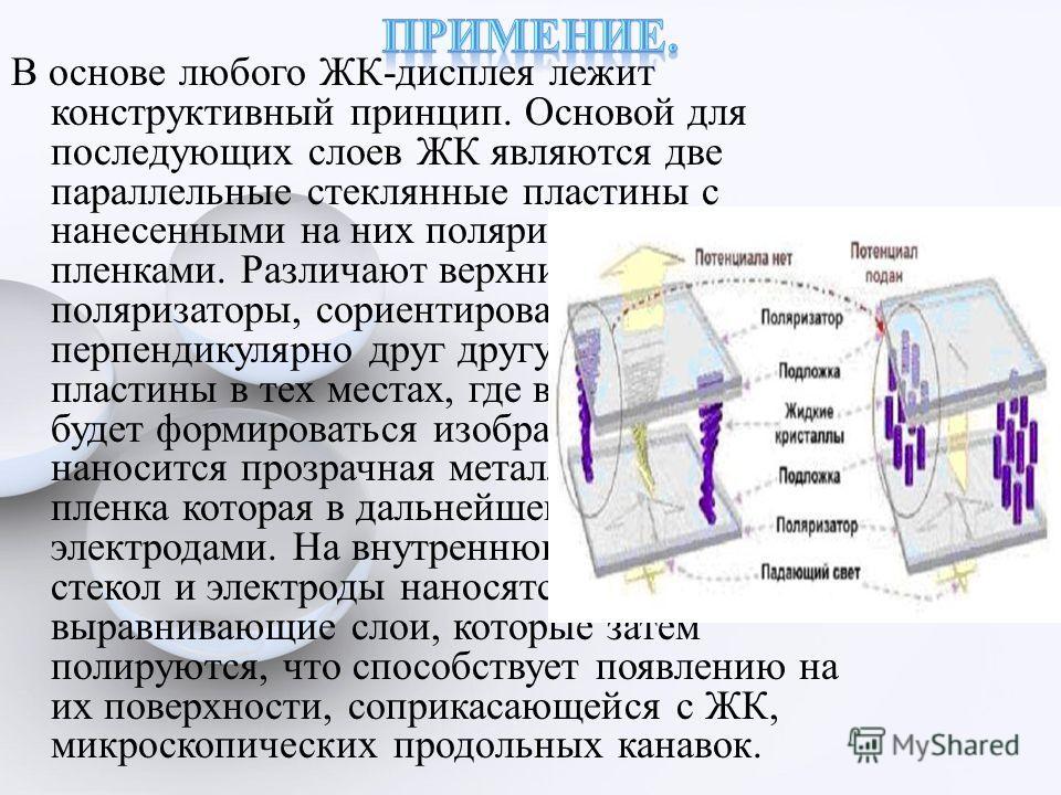 В основе любого ЖК-дисплея лежит конструктивный принцип. Основой для последующих слоев ЖК являются две параллельные стеклянные пластины с нанесенными на них поляризационными пленками. Различают верхний и нижний поляризаторы, сориентированные перпенди