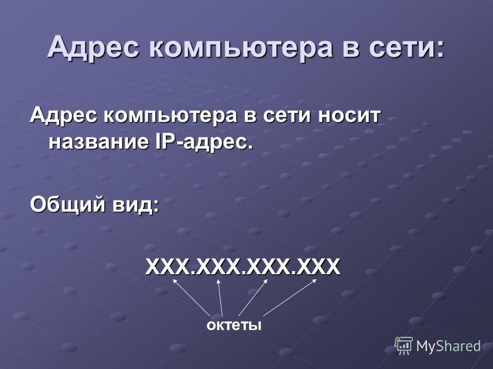 Адрес компьютера в сети носит название IP-адрес. Общий вид: ХХХ.ХХХ.ХХХ.ХХХ ХХХ.ХХХ.ХХХ.ХХХ Адрес компьютера в сети: октеты
