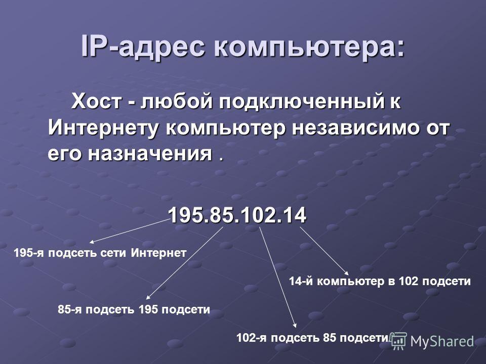 IP-адрес компьютера: Хост - любой подключенный к Интернету компьютер независимо от его назначения. Хост - любой подключенный к Интернету компьютер независимо от его назначения. 195.85.102.14 195.85.102.14 195-я подсеть сети Интернет 85-я подсеть 195
