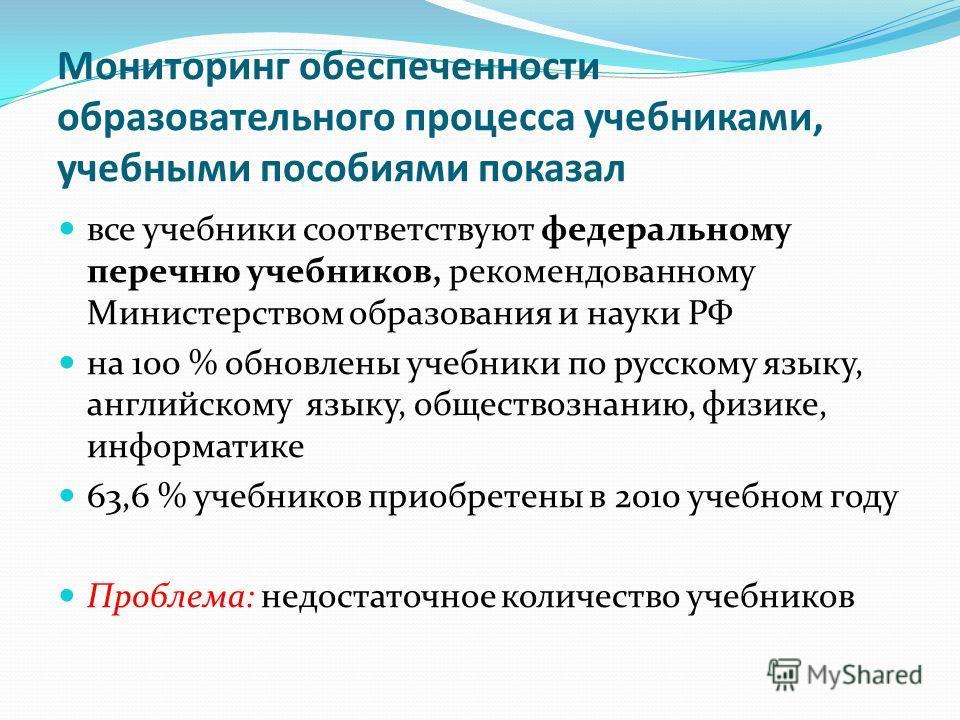 Мониторинг обеспеченности образовательного процесса учебниками, учебными пособиями показал все учебники соответствуют федеральному перечню учебников, рекомендованному Министерством образования и науки РФ на 100 % обновлены учебники по русскому языку,