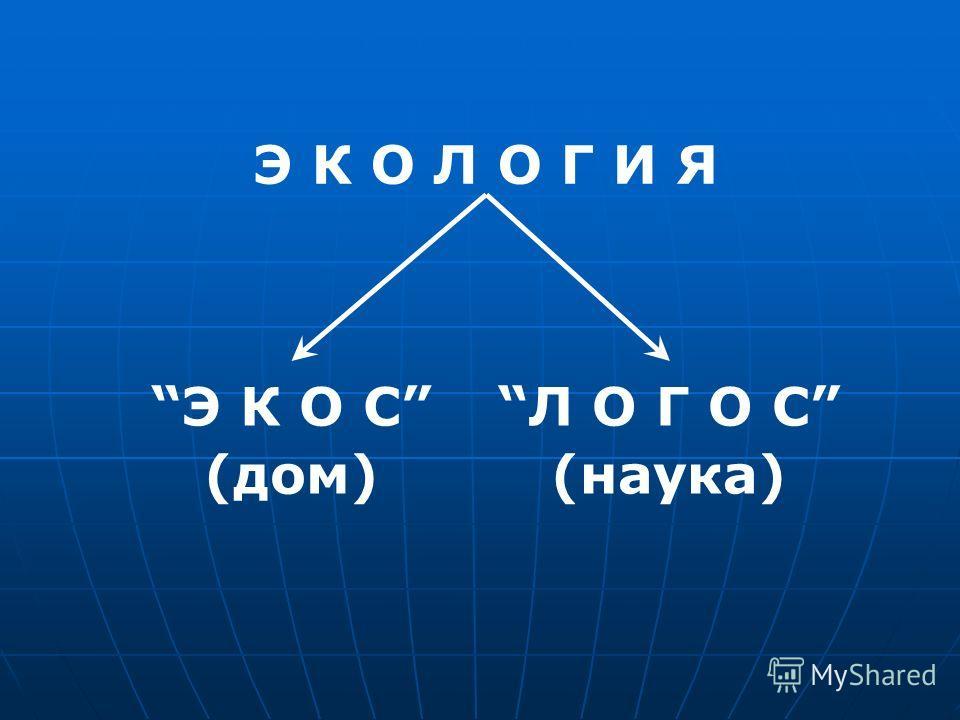 Э К О Л О Г И Я Э К О СЛ О Г О С (дом)(наука)