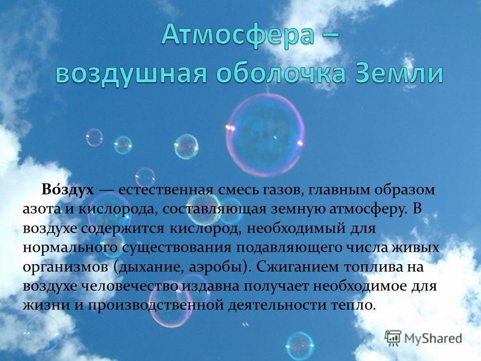 Во́здух естественная смесь газов, главным образом азота и кислорода, составляющая земную атмосферу. В воздухе содержится кислород, необходимый для нормального существования подавляющего числа живых организмов (дыхание, аэробы). Сжиганием топлива на в