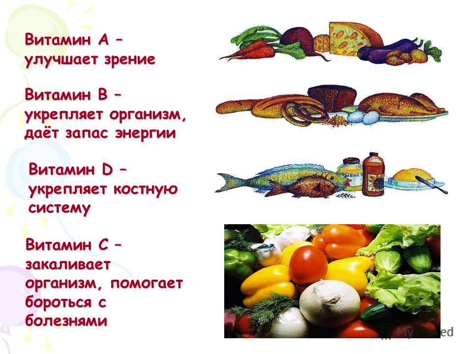 Витамин А – улучшает зрение Витамин В – укрепляет организм, даёт запас энергии Витамин D – укрепляет костную систему Витамин С – закаливает организм, помогает бороться с болезнями