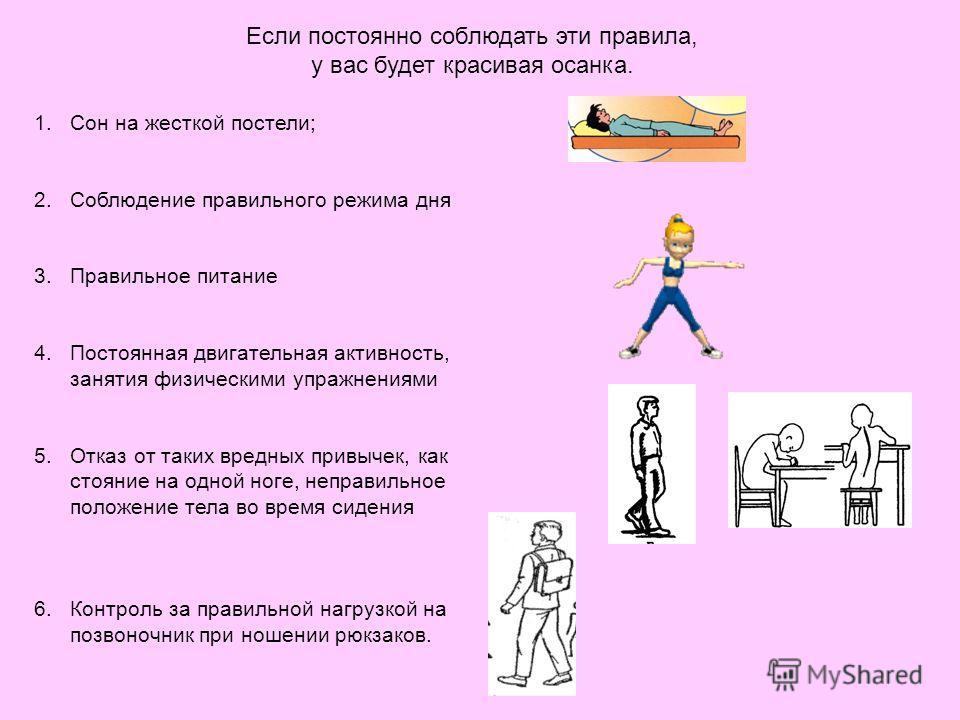 Если постоянно соблюдать эти правила, у вас будет красивая осанка. 1.Сон на жесткой постели; 2.Соблюдение правильного режима дня 3.Правильное питание 4.Постоянная двигательная активность, занятия физическими упражнениями 5.Отказ от таких вредных прив