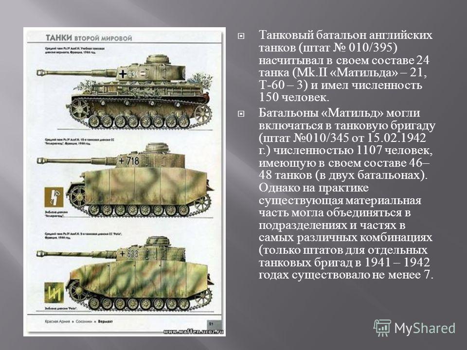 Танковый батальон английских танков ( штат 010/395) насчитывал в своем составе 24 танка ( М k.II « Матильда » – 21, Т -60 – 3) и имел численность 150 человек. Батальоны « Матильд » могли включаться в танковую бригаду ( штат 010/345 от 15.02.1942 г.)