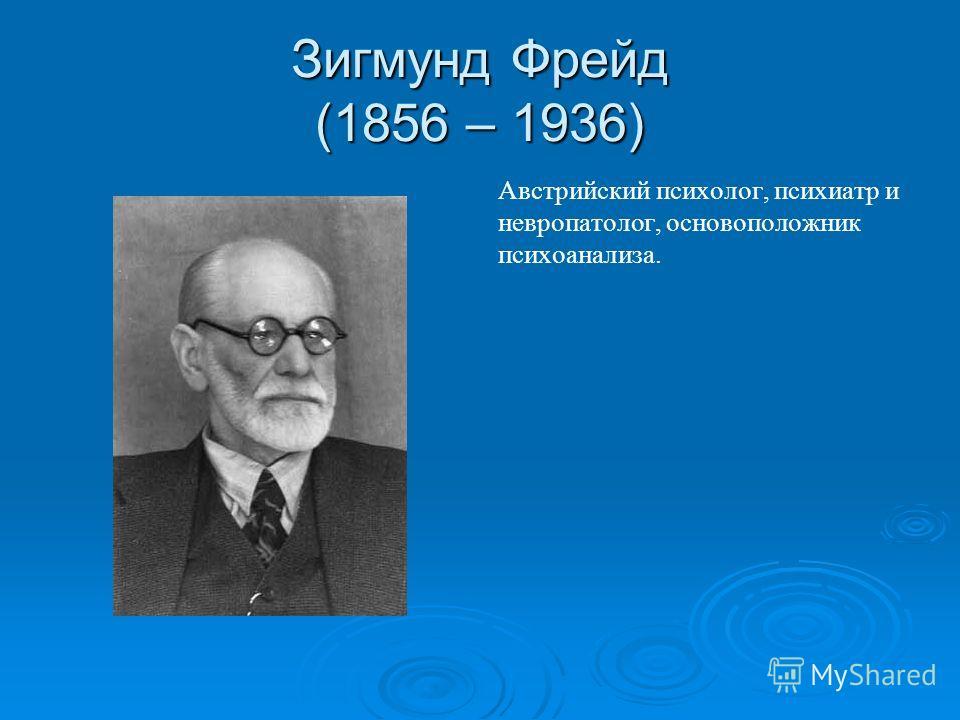 Зигмунд Фрейд (1856 – 1936) Австрийский психолог, психиатр и невропатолог, основоположник психоанализа.