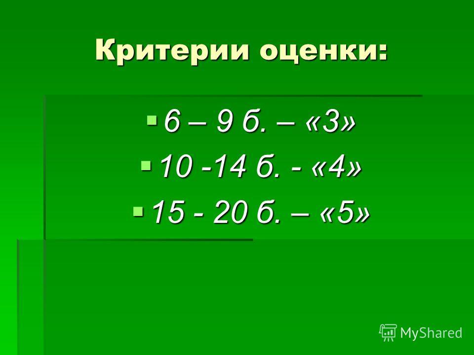Критерии оценки: 6 – 9 б. – «3» 6 – 9 б. – «3» 10 -14 б. - «4» 10 -14 б. - «4» 15 - 20 б. – «5» 15 - 20 б. – «5»