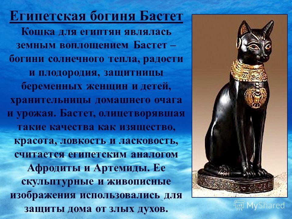 Египетская богиня Бастет Кошка для египтян являлась земным воплощением Бастет – богини солнечного тепла, радости и плодородия, защитницы беременных женщин и детей, хранительницы домашнего очага и урожая. Бастет, олицетворявшая такие качества как изящ