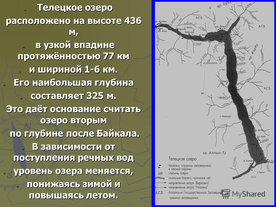 Телецкое озеро Телецкое озеро расположено на высоте 436 м, расположено на высоте 436 м, в узкой впадине протяжённостью 77 км в узкой впадине протяжённостью 77 км и шириной 1-6 км. и шириной 1-6 км. Его наибольшая глубина Его наибольшая глубина состав