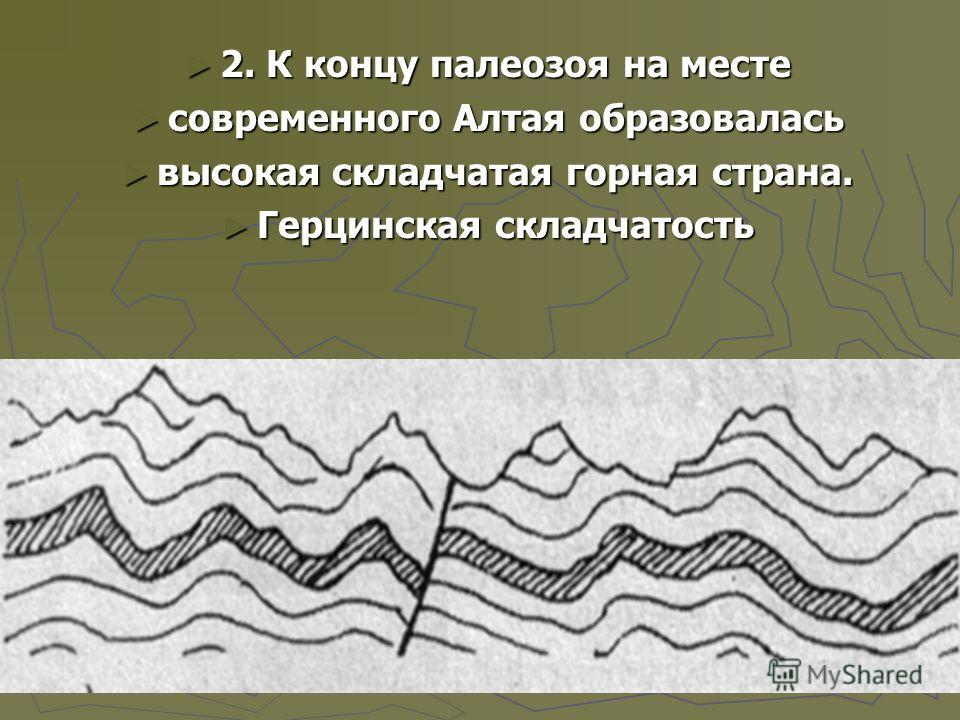 2. К концу палеозоя на месте 2. К концу палеозоя на месте современного Алтая образовалась современного Алтая образовалась высокая складчатая горная страна. высокая складчатая горная страна. Герцинская складчатость Герцинская складчатость
