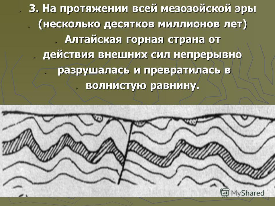 3. На протяжении всей мезозойской эры 3. На протяжении всей мезозойской эры (несколько десятков миллионов лет) (несколько десятков миллионов лет) Алтайская горная страна от Алтайская горная страна от действия внешних сил непрерывно действия внешних с