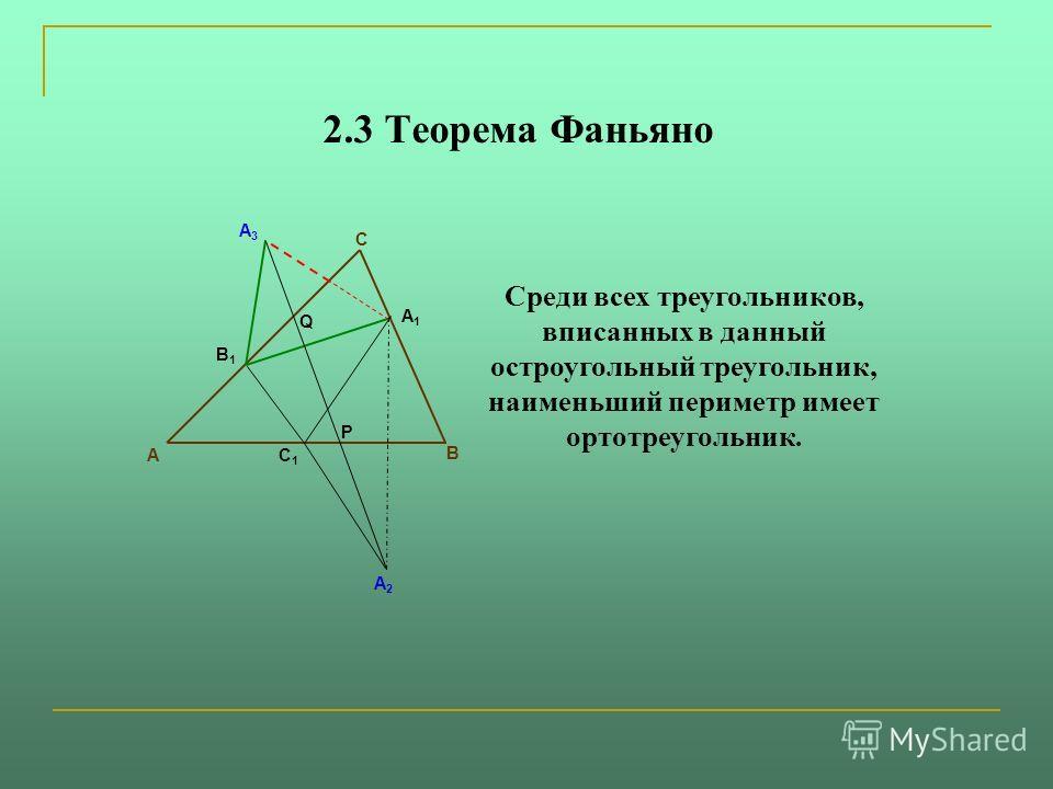 2.3 Теорема Фаньяно А1А1 В1В1 С1С1 A2A2 A3A3 P А В С Q Среди всех треугольников, вписанных в данный остроугольный треугольник, наименьший периметр имеет ортотреугольник.