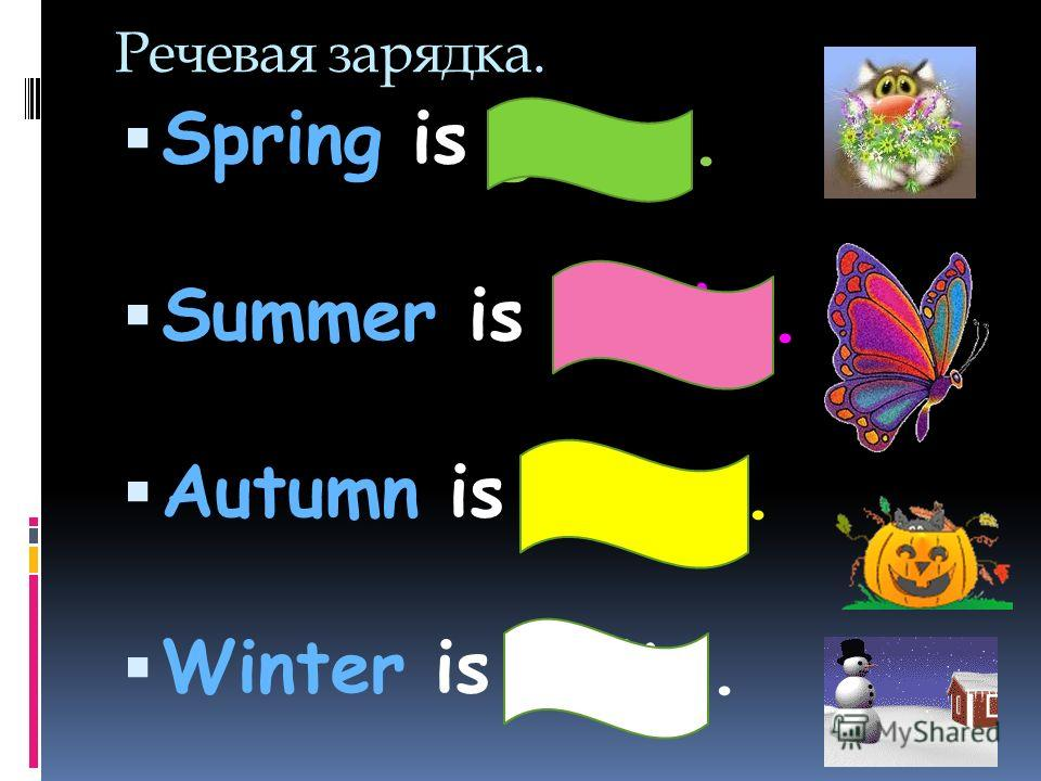 Речевая зарядка. Spring is green. Summer is bright. Autumn is yellow. Winter is white.