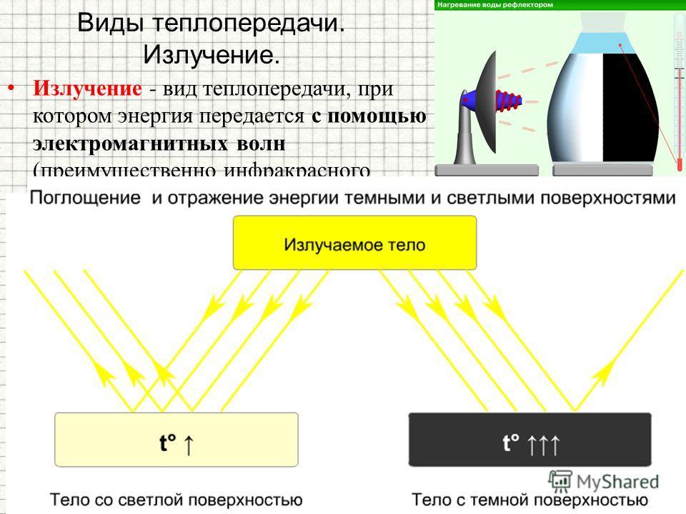 Излучение - вид теплопередачи, при котором энергия передается с помощью электромагнитных волн (преимущественно инфракрасного диапазона). Может происходить в вакууме Виды теплопередачи. Излучение.