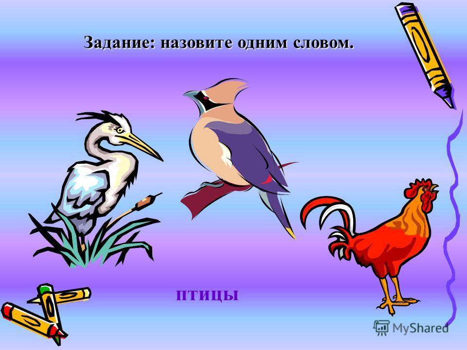 Задание: назовите одним словом. птицы