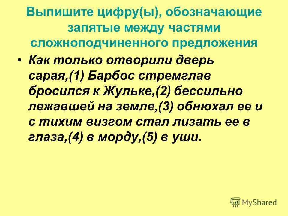 Выпишите цифру(ы), обозначающие запятые между частями сложноподчиненного предложения Как только отворили дверь сарая,(1) Барбос стремглав бросился к Жульке,(2) бессильно лежавшей на земле,(3) обнюхал ее и с тихим визгом стал лизать ее в глаза,(4) в м