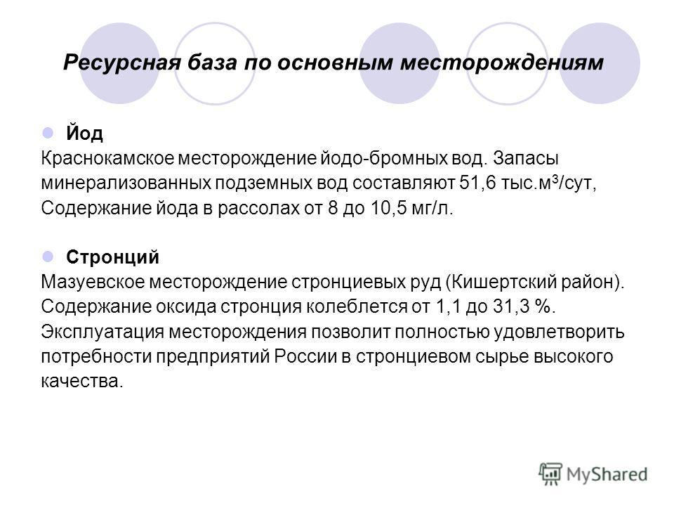 Ресурсная база по основным месторождениям Йод Краснокамское месторождение йодо-бромных вод. Запасы минерализованных подземных вод составляют 51,6 тыс.м 3 /сут, Содержание йода в рассолах от 8 до 10,5 мг/л. Стронций Мазуевское месторождение стронциевы
