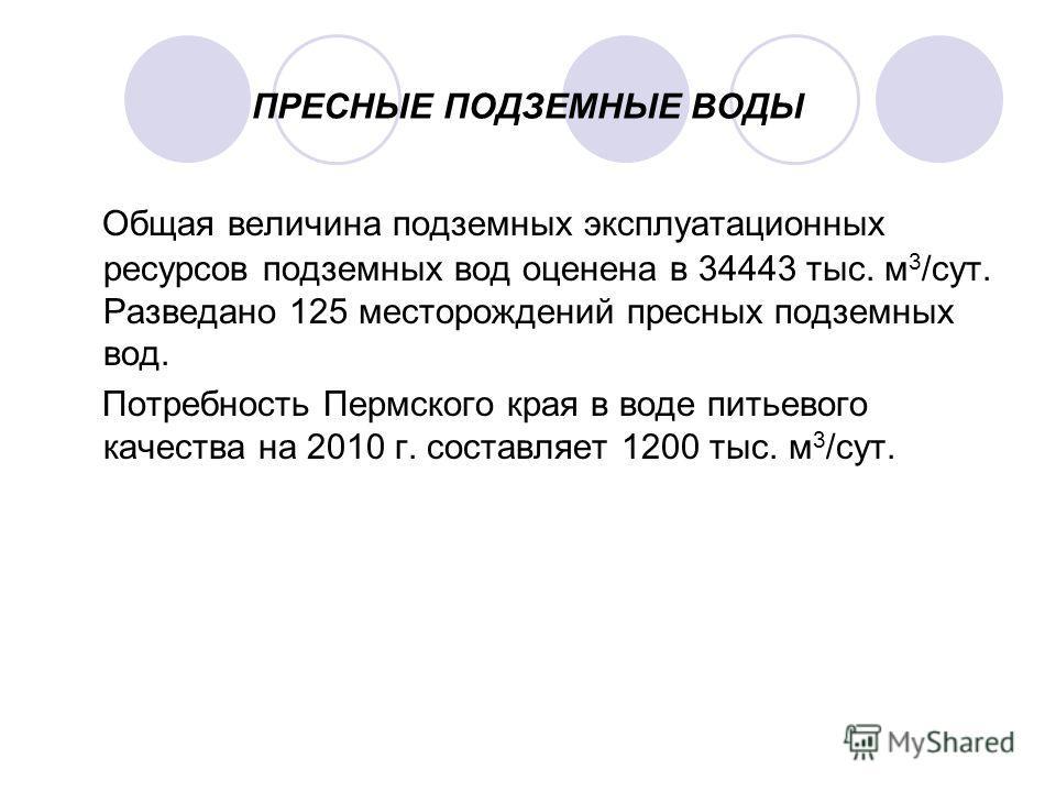 ПРЕСНЫЕ ПОДЗЕМНЫЕ ВОДЫ Общая величина подземных эксплуатационных ресурсов подземных вод оценена в 34443 тыс. м 3 /сут. Разведано 125 месторождений пресных подземных вод. Потребность Пермского края в воде питьевого качества на 2010 г. составляет 1200