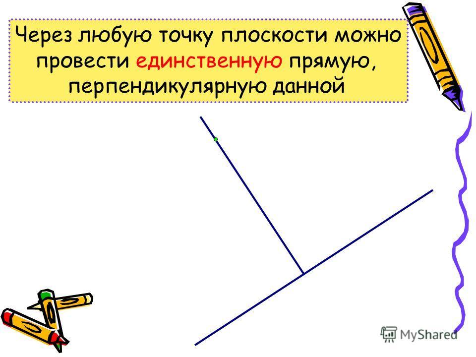 Через любую точку плоскости можно провести единственную прямую, перпендикулярную данной