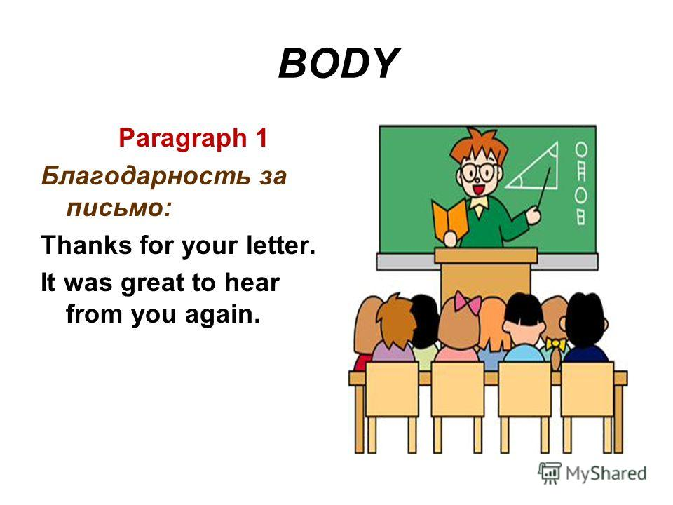 BODY Paragraph 1 Благодарность за письмо: Thanks for your letter. It was great to hear from you again.