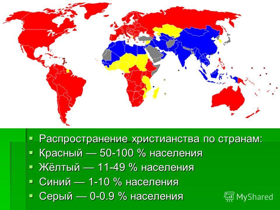 Распространение христианства по странам: Красный 50-100 % населения Жёлтый 11-49 % населения Синий 1-10 % населения Серый 0-0.9 % населения