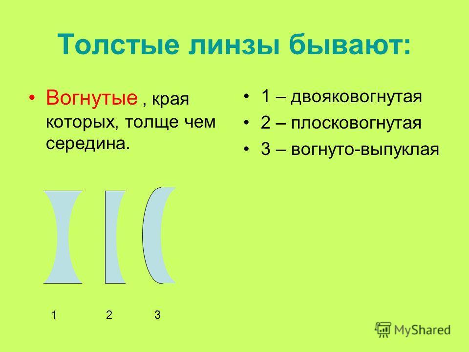 Вогнутые, края которых, толще чем середина. 1 – двояковогнутая 2 – плосковогнутая 3 – вогнуто-выпуклая 123