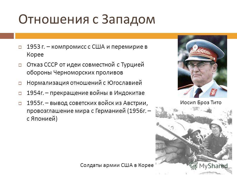 Отношения с Западом 1953 г. – компромисс с США и перемирие в Корее Отказ СССР от идеи совместной с Турцией обороны Черноморских проливов Нормализация отношений с Югославией 1954 г. – прекращение войны в Индокитае 1955 г. – вывод советских войск из Ав