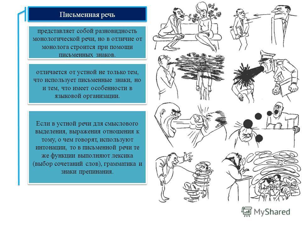 Письменная речь представляет собой разновидность монологической речи, но в отличие от монолога строится при помощи письменных знаков. отличается от устной не только тем, что использует письменные знаки, но и тем, что имеет особенности в языковой орга