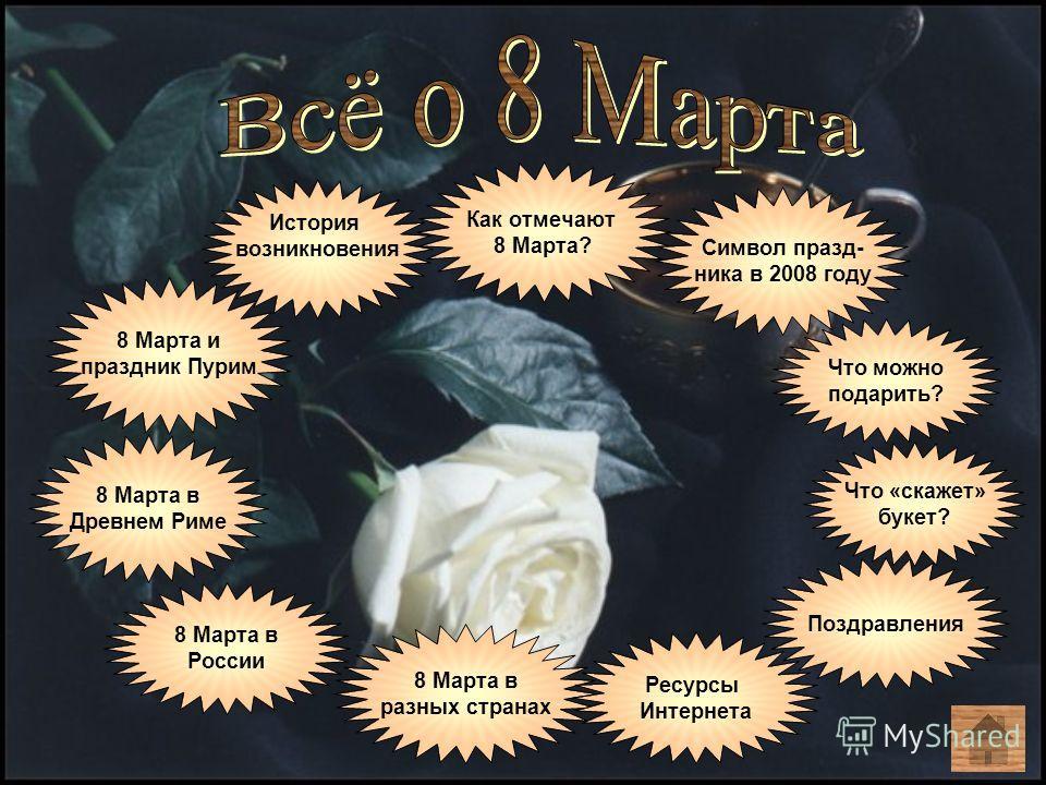 История возникновения 8 Марта и праздник Пурим 8 Марта в Древнем Риме 8 Марта в России 8 Марта в разных странах Как отмечают 8 Марта? Что можно подарить? Что «скажет» букет? Символ празд- ника в 2008 году Ресурсы Интернета Поздравления