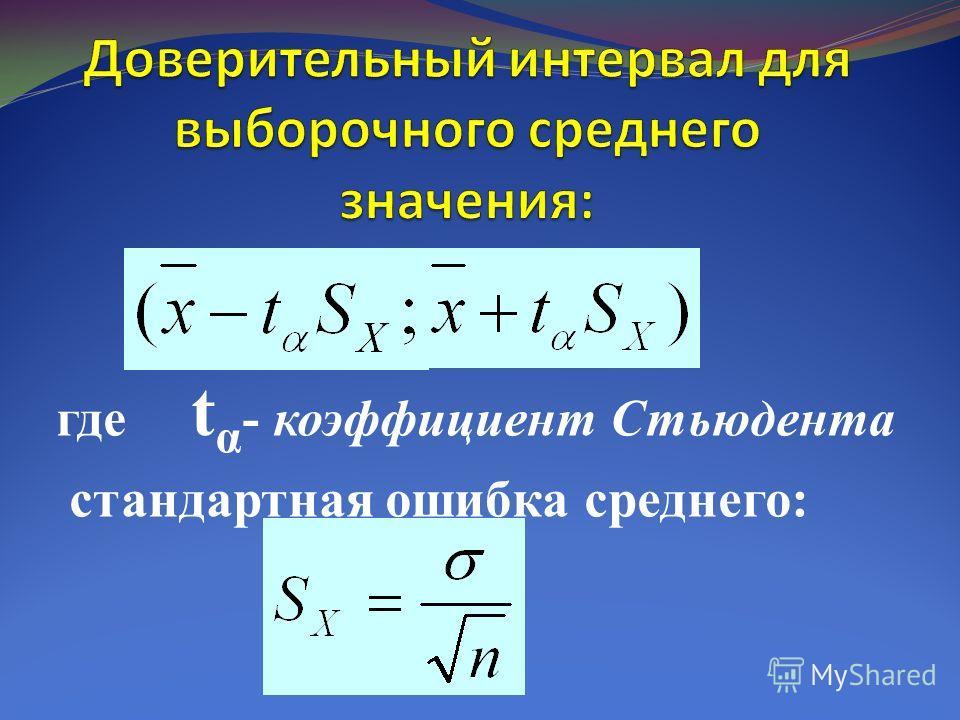 где t α - коэффициент Стьюдента стандартная ошибка среднего: