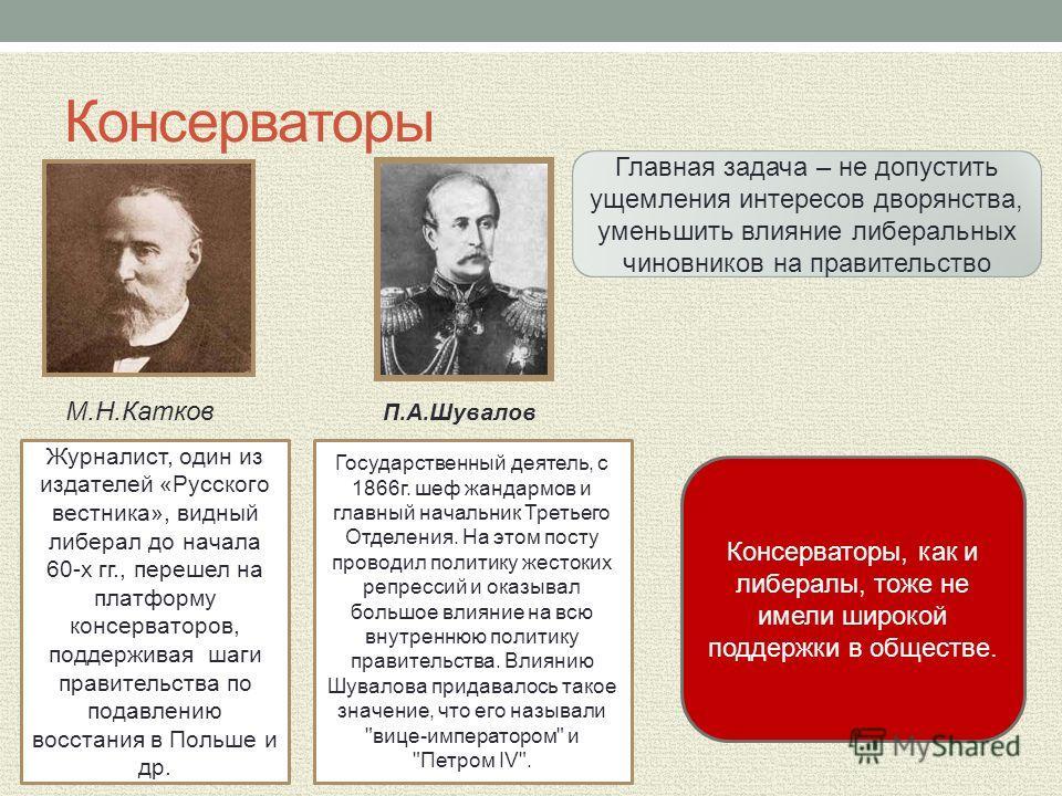 Консерваторы М.Н.Катков П.А.Шувалов Журналист, один из издателей «Русского вестника», видный либерал до начала 60-х гг., перешел на платформу консерваторов, поддерживая шаги правительства по подавлению восстания в Польше и др. Государственный деятель