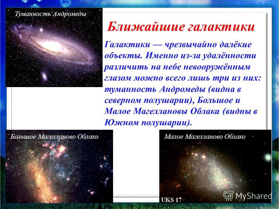 Ближайшие галактики Галактики чрезвычайно далёкие объекты. Именно из-за удалённости различить на небе невооружённым глазом можно всего лишь три из них: туманность Андромеды (видна в северном полушарии), Большое и Малое Магеллановы Облака (видны в Южн