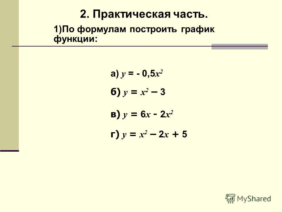 2. Практическая часть. 1)По формулам построить график функции: а) y = - 0,5 x 2 б) y = x 2 – 3 в) y = 6 x - 2 x 2 г) y = x 2 – 2 x + 5